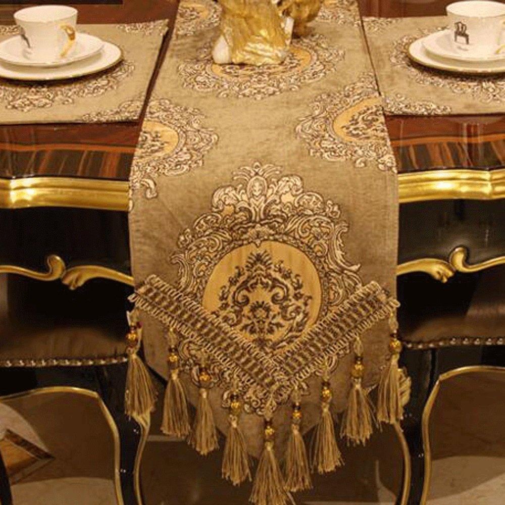 QZZ Caminos de mesa Lujo Chenille Jacquard Hotel antideslizante Decoración de la familia Corredor de la tabla ( Tamaño : 30220cm )