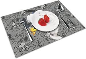 JINMENHUO Anime Cartoon Exquisite Personality Place mats for Dining Table Set of 4 Non-Slip Heat Resistant Washable and Reusable