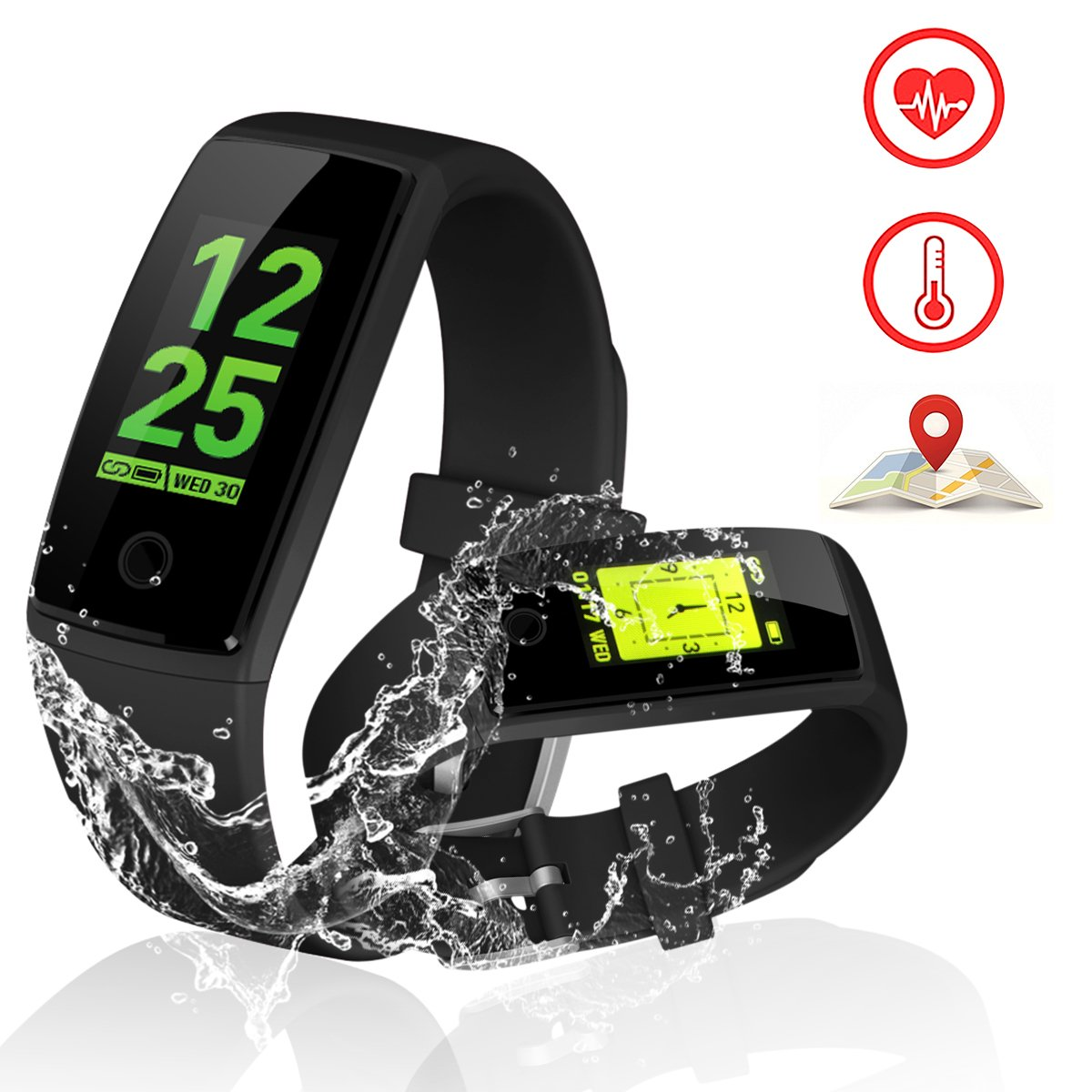 Kirlor Fitness Tracker, V10 New Version Colorful Screen Smart Bracelet with Heart Rate Blood Pressure Monitor,Smart Watch Pedometer Activity Tracker Bluetooth for Android & IOS(Black)