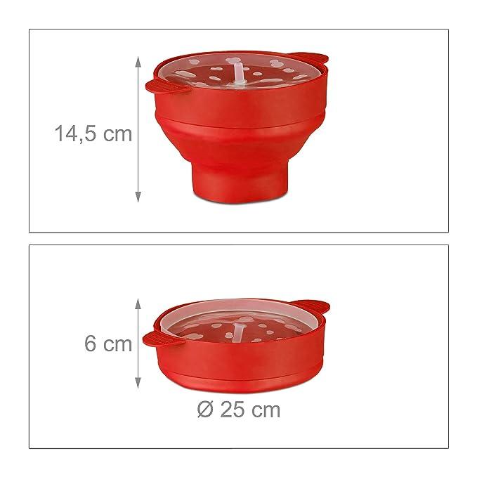 Relaxdays Palomitero para Microondas, Silicona, Rojo, 14.5 x 25.5 x 25.5 cm: Amazon.es