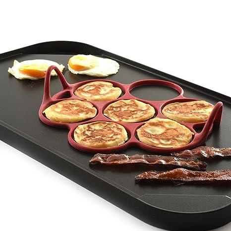 Molde de silicona para tortitas de huevo y pasteles, 7 unidades, antiadherente, apto