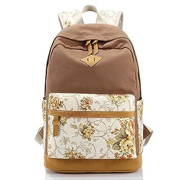 tininna Mujer Chica Vintage Flores Lienzo Mochila Mochila Backpack Daypack - Mochila escolar mochila escolar mochila Beige caqui: Amazon.es: Hogar