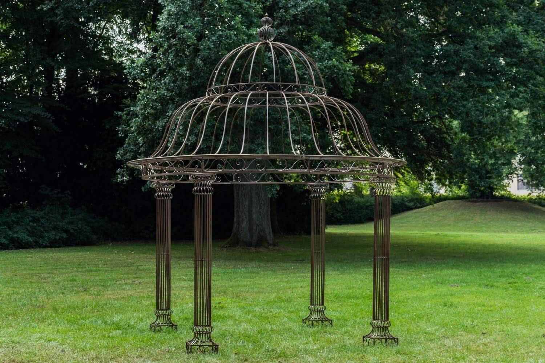 CLP Pabellón de jardín Palais L, redondo, 370 cm de diámetro, altura 440 cm, hierro estable (metal), color marrón envejecido: Amazon.es: Jardín