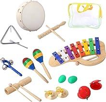 Set de instrumentos percusión CAHAYA, Juego de instrumentos de percusión con 8 diferentes, Xilófono, Maracas, Castañuelas, Pandereta, Platillos, Cascabeles, Güiro, Triángulo (12 artículos en total)