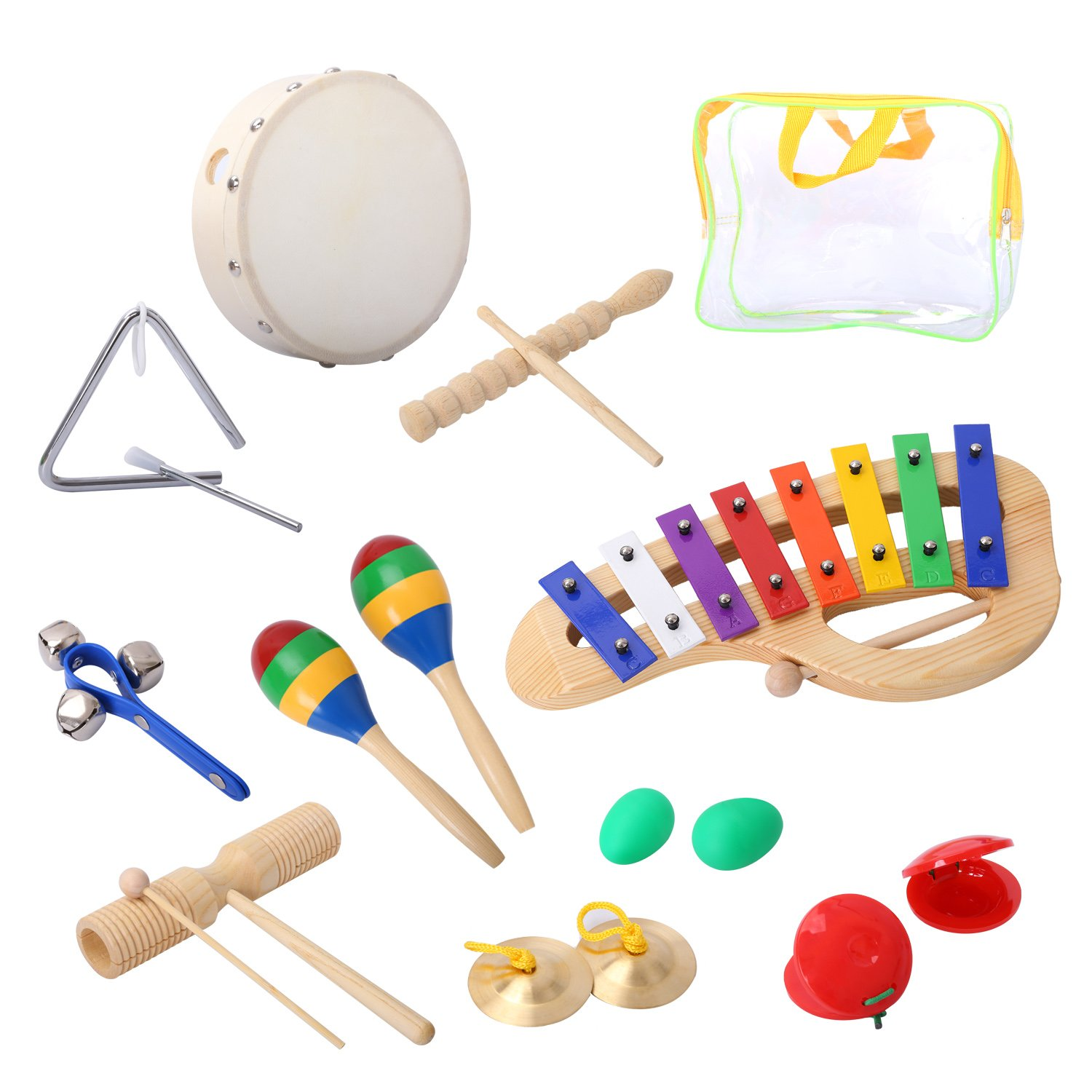 CAHAYA Percussion Set Musical Instruments and Enlighten Toys Kit Tambourine Bells Maracas Glockenspiel Castanets with Small Bag for Baby 10PCS