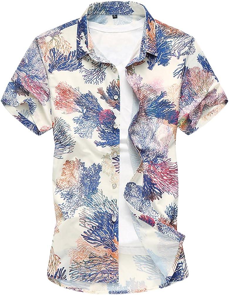 Zhhlinyuan Camisas Flores Hombre Hawaiian Floral Manga Corta Camisas Botón Casual Vacaciones de natación Tops con Botones Up to 7XL: Amazon.es: Ropa y accesorios