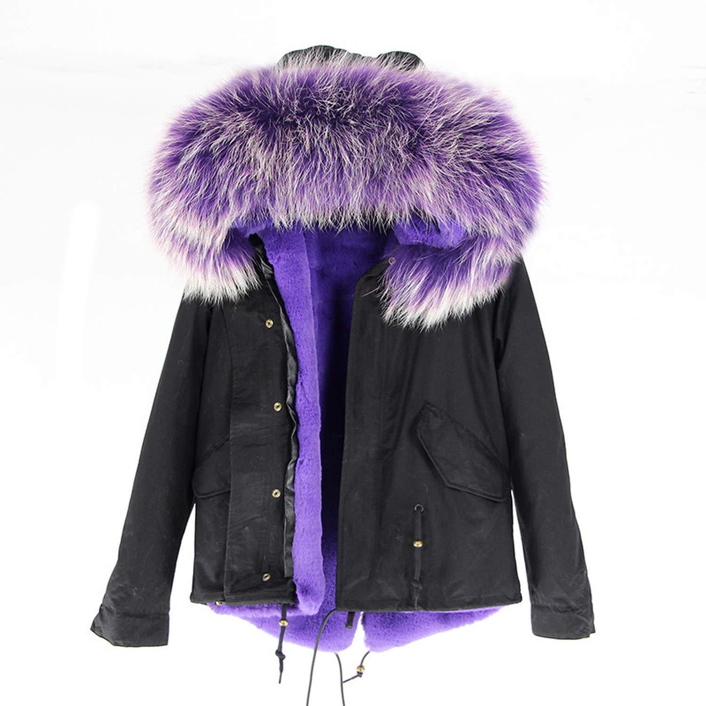 20 EnjoySexy Parka Winter Jacket Coat Women Natural Raccoon Fur Collar Hooded Warm Soft Faux Fur Liner