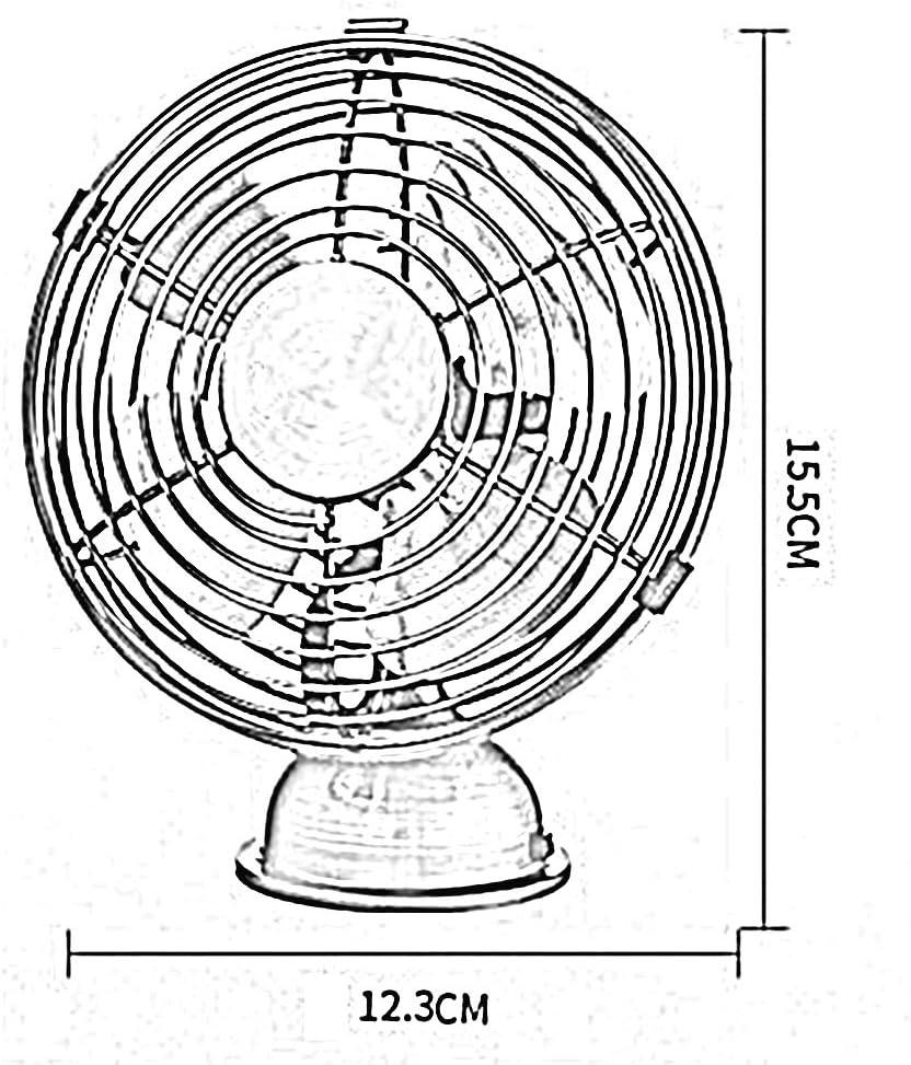 Ventilatore Ventola da 4 Pollici Ventola silenziosa Ventola da Ufficio Mini Tavolo per Studenti Design Americano Design in Metallo Pieno (Colore : Bronzo) Bronzo
