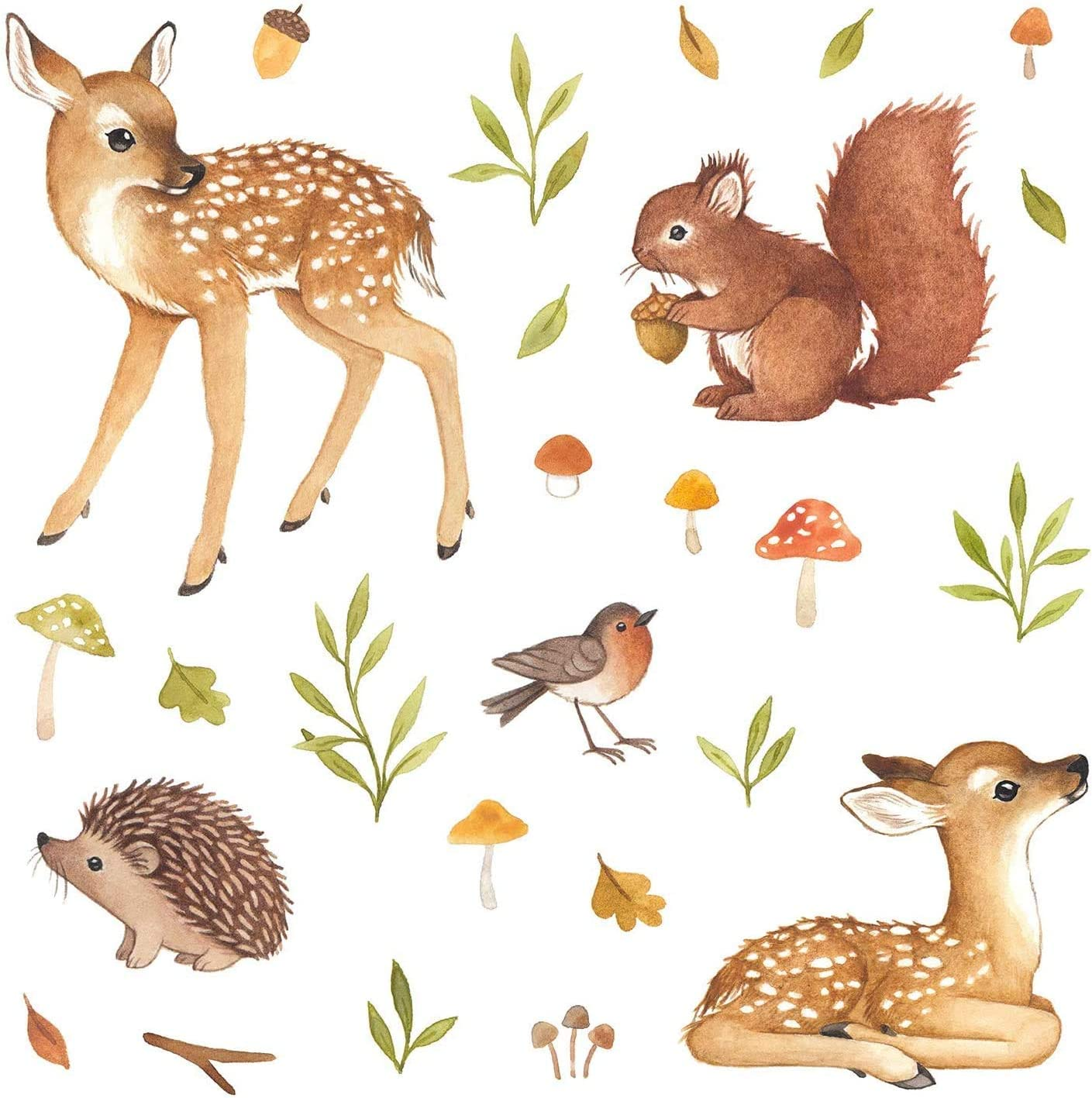 Woodland Nursery Decor, Woodland Animals Baby Nursery Wall Decor Decals Set for Kids Room Decor, Perfect Baby Girl Gifts & Baby Boy Gifts, Gender Neutral Wall Stickers, New Mom Baby Shower Gifts