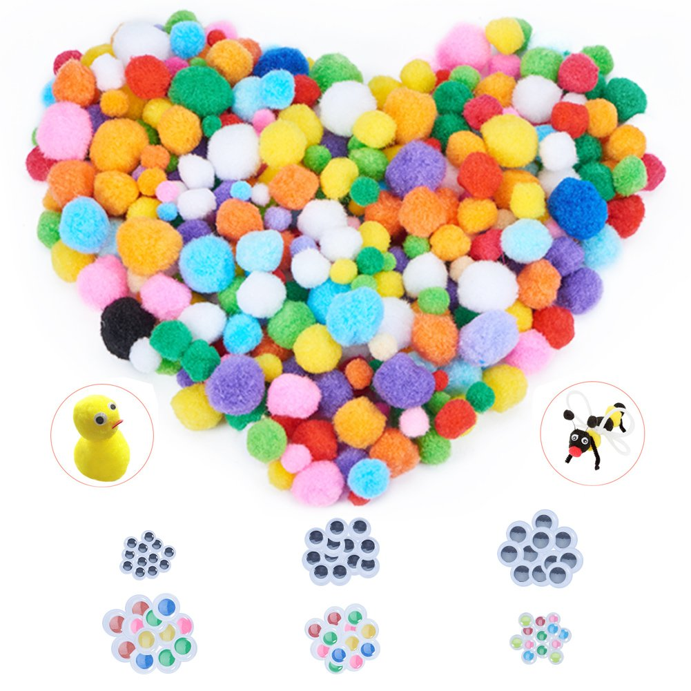 PandaHall Elite About 520 Pcs Assorted Pompoms Multicolor Arts and Crafts Fuzzy Pom Poms Balls Diameter 10mm to 30mm with 210 Pcs Wiggle Googly Eyes for DIY Doll Creative Crafts Decorations