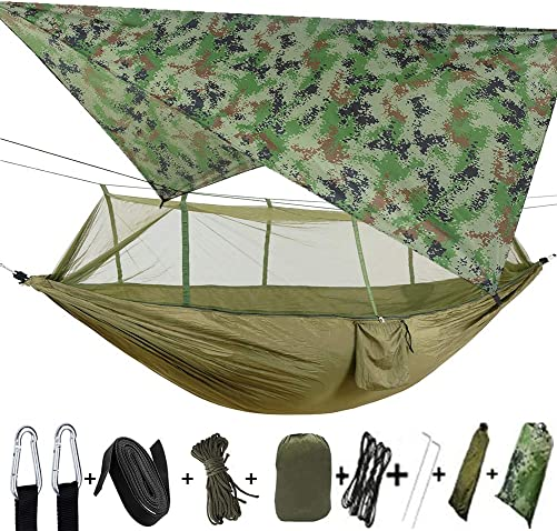 TOPCHANCES Upgrade Ultralight Portable Nylon Camping Hammock Mosquito Net with Rain Fly Tent Tarp for Outdoor Windproof, Anti-Mosquito, Swing Sleeping Hammock Bed Army Green