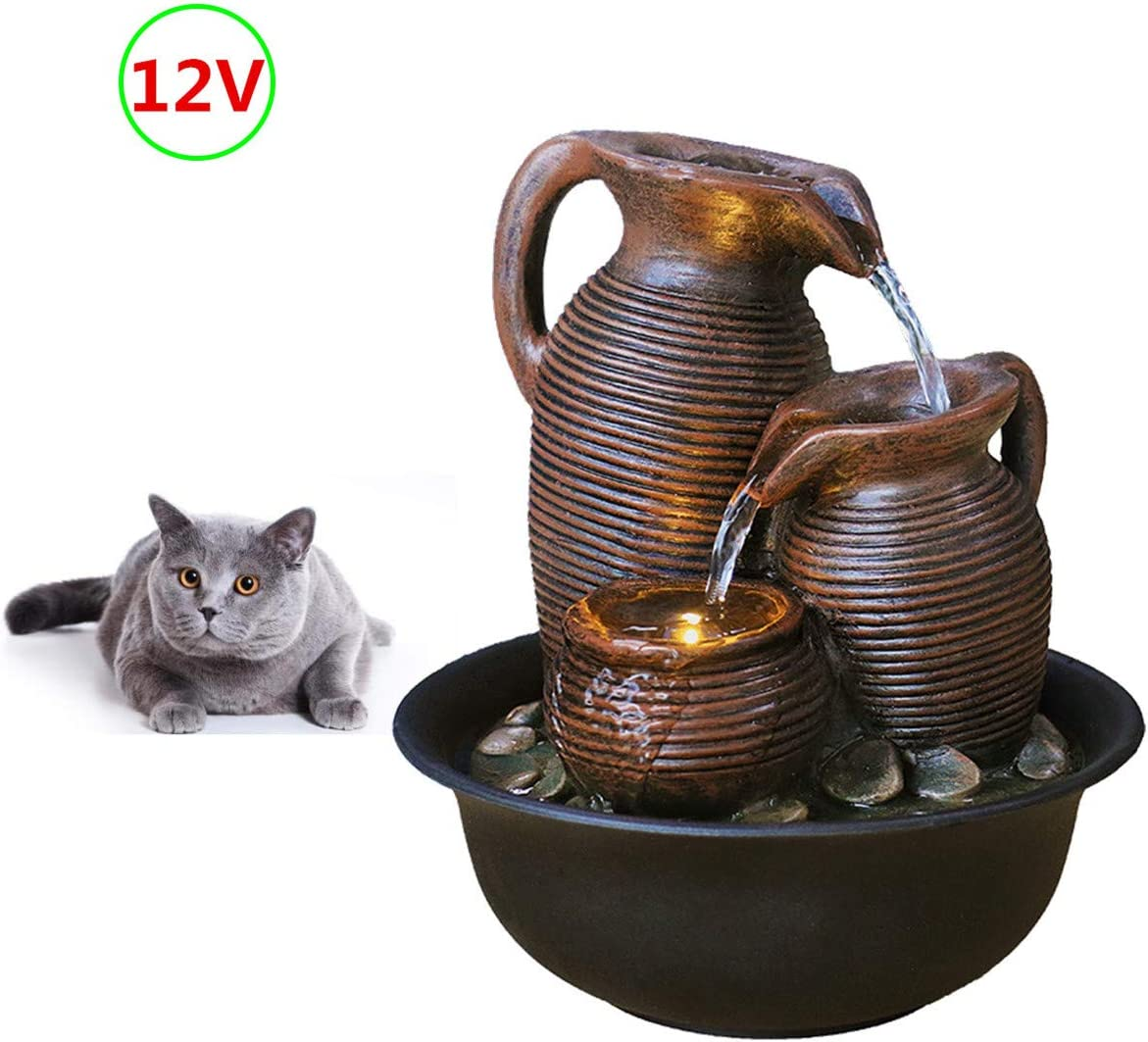 FANFAN Power Supply with Transformer Indoor Tabletop Waterfall Fountain Table top Mini Water Fountain Decorative pet cat Drinking Water Fountain with led Lights