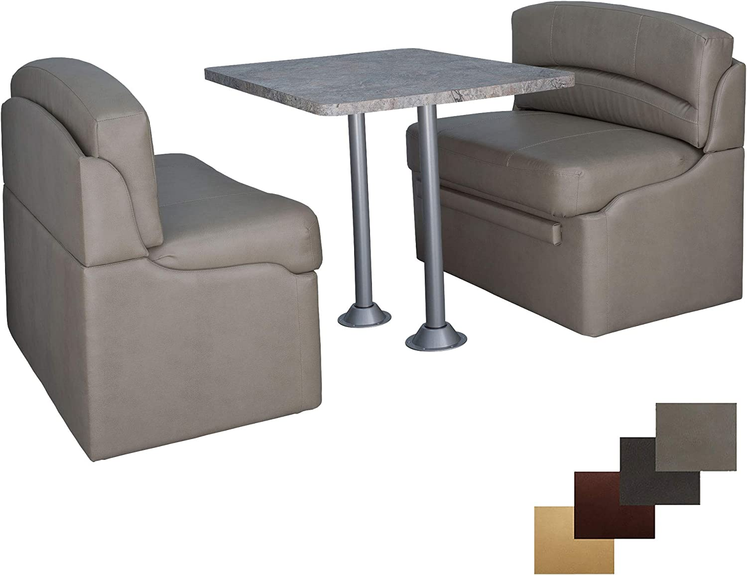 """RecPro 42"""" Dinette Booth Set with Table and Leg, Includes Two Dinette Booths for RV's 