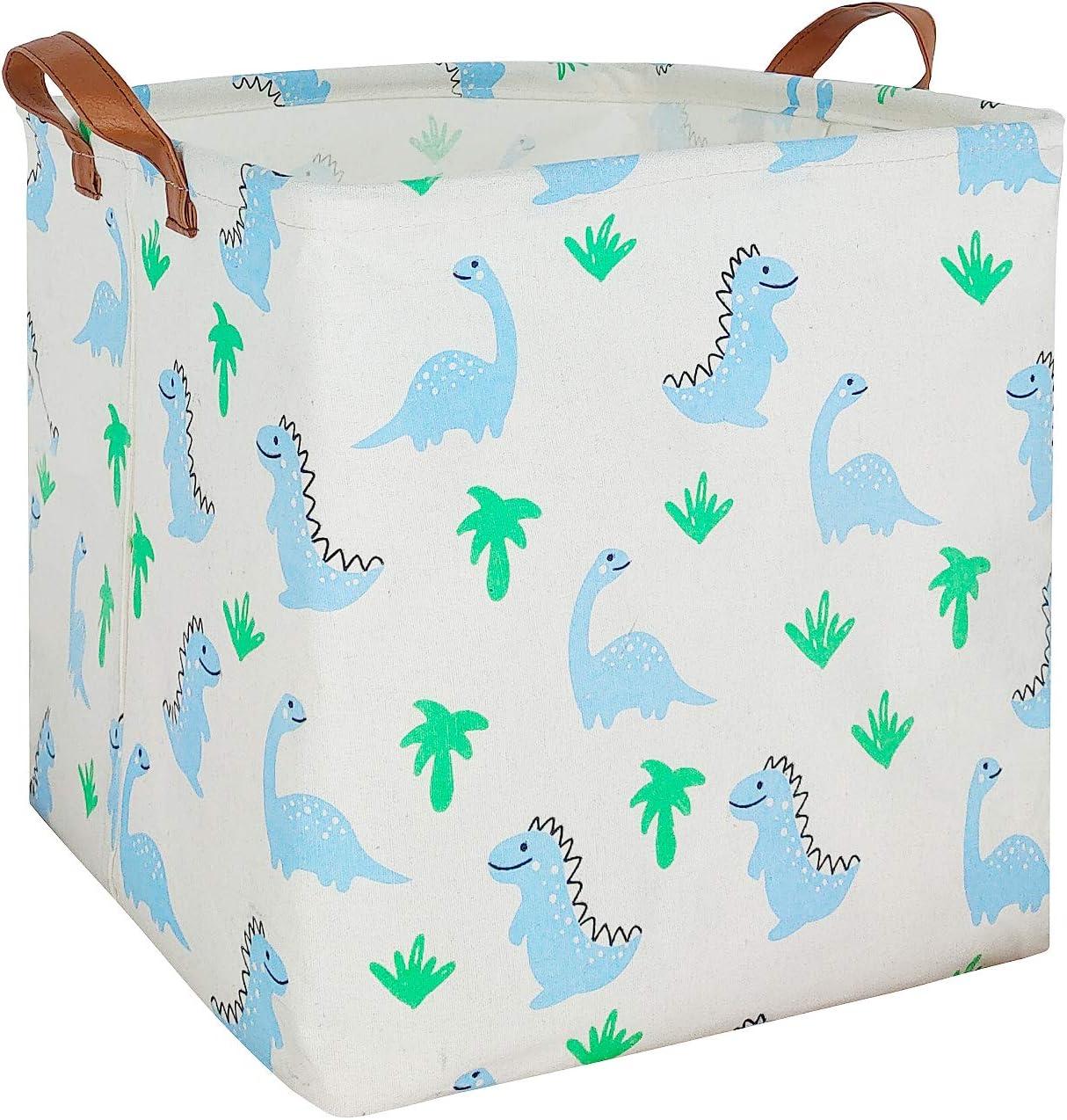 ASKETAM Square Canvas Fabric Storage Boxes,Collapsible Storage Baskets,Canvas Toy Organizer,Shelf Basket,Baby Nursery,Gift Baskets, Closet & Laundry,Room Decor (Blue Dinosaur)