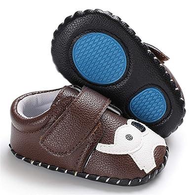 Yalion Baby Soft Sole Leather Shoes Infant Boy Girl Toddler Moccasin Prewalker Crib Shoes Bear Beige