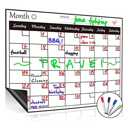 Magnetic Whiteboard Calendar for Fridge,Ideal for Menu Planner, Memo,Event  Reminder,Monthly or Weekly Shopping List,Includes 4 Free Dry Erase Colour