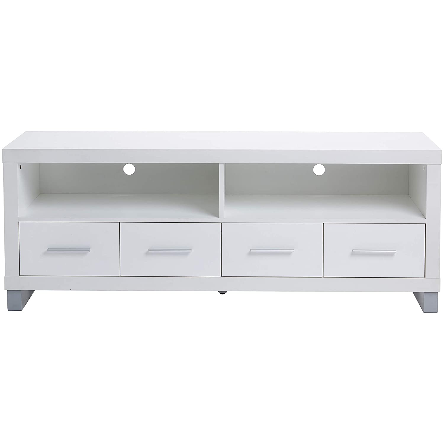 Rockpoint Cosmopolitan 60-Inch TV Stand Media Console with Metal Legs, Snow White