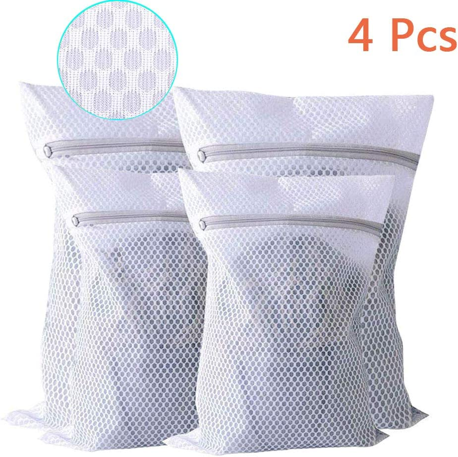 Extra Large Heavy Duty Mesh Laundry Bag, Pack of 4 Delicates Net Bags for Laundry, Lingerie Bag for Washing Machine, Dryer Safe Travel Zippered Garment Bags for Laundry