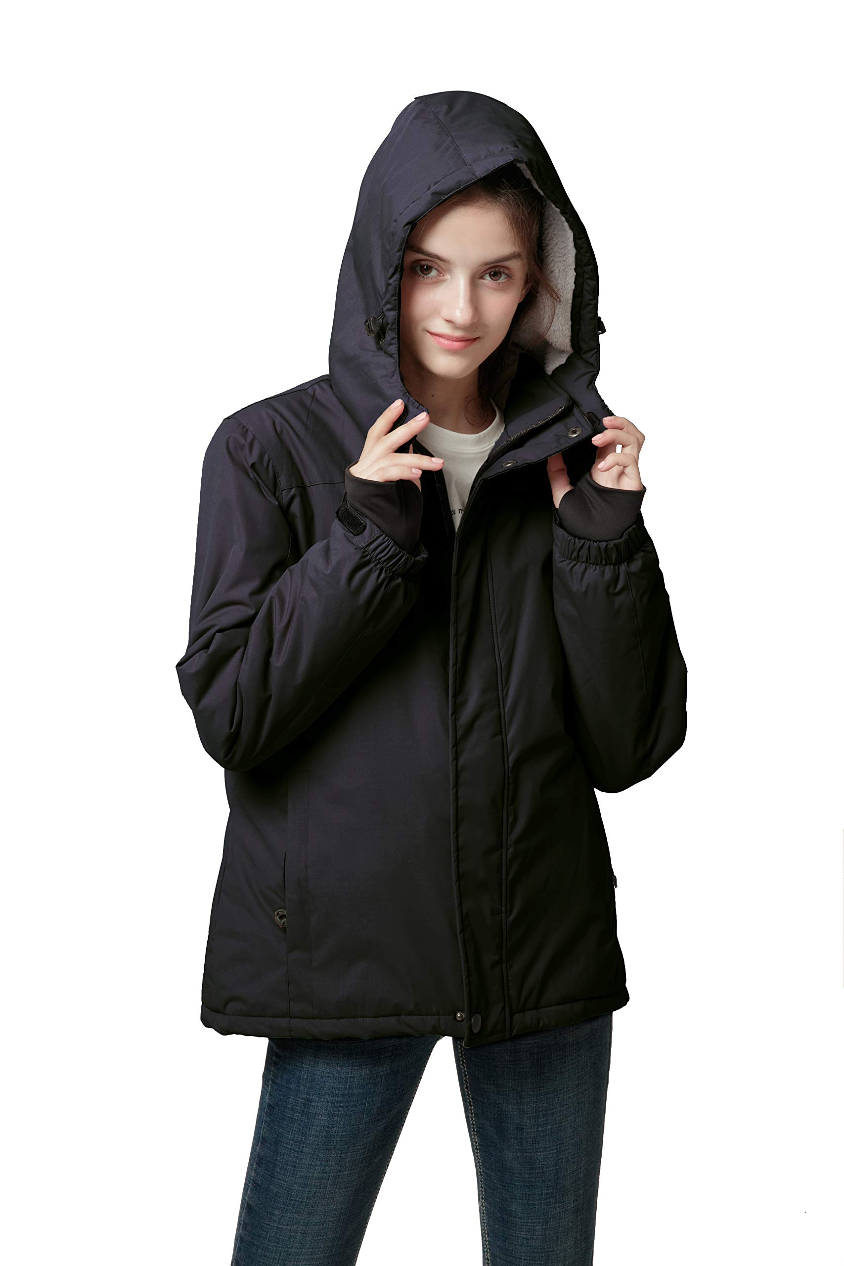 Spmor Women's Waterproof Ski Jacket Mountain Rain Coat Windproof Skin Hooded Jacket
