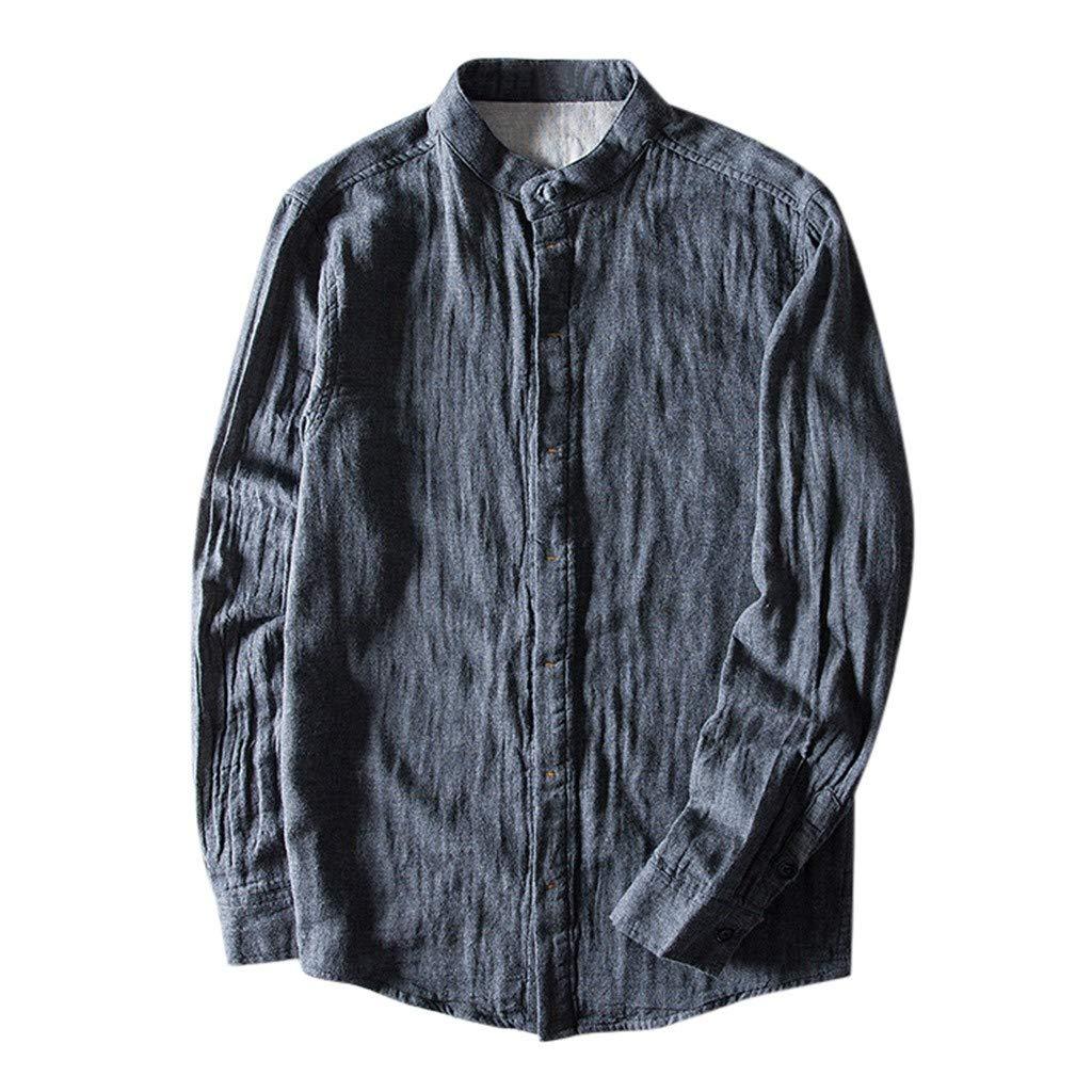 VZEXA Mens Shirt Ethnic Style Tops Cotton Linen Stripe Long Sleeve Casual Loose Top(A Gray,XL) by VZEXA