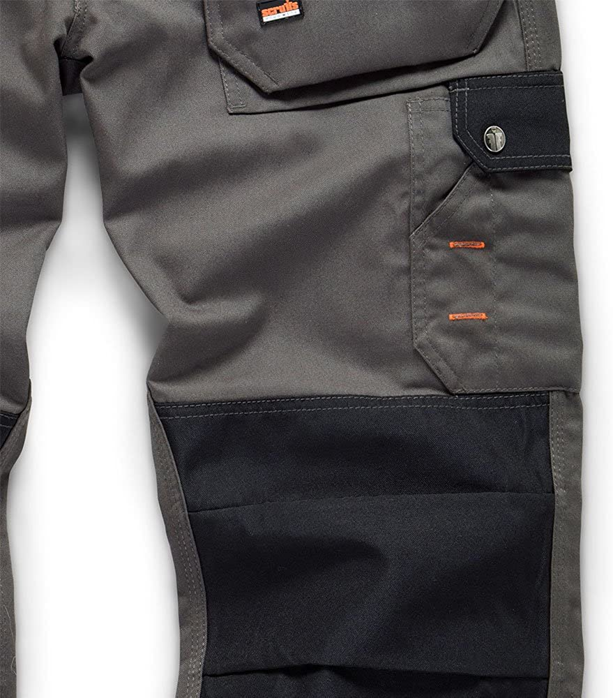 Scruffs Worker Multi Pocket Work Trousers Grey With Knee Pads /& Clip Belt