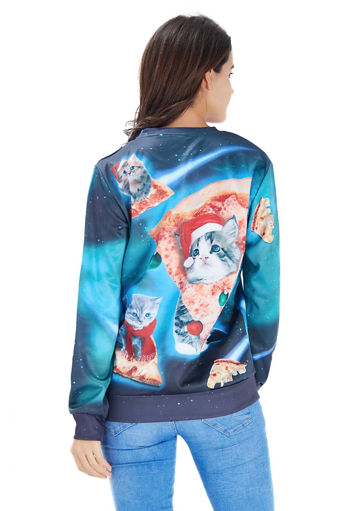 RAISEVERN Unisex hässliche Weihnachtskatze Pullover Hip Hop Neuheit Grafik Pullover Sweatshirt Kleidung für Teen Juniors