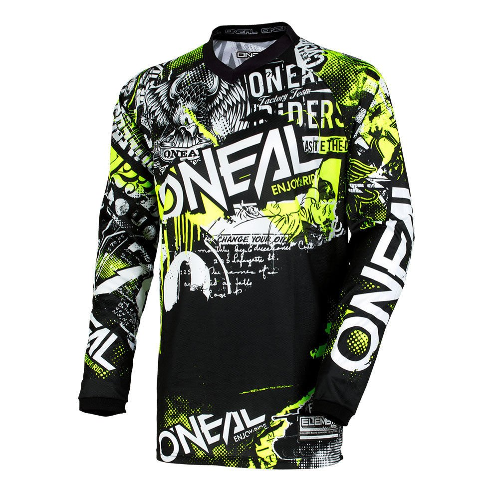 Oneal Element Attack Motocross Jersey Cross Offroad Enduro Downhill Schwarz Gelb (L) 1