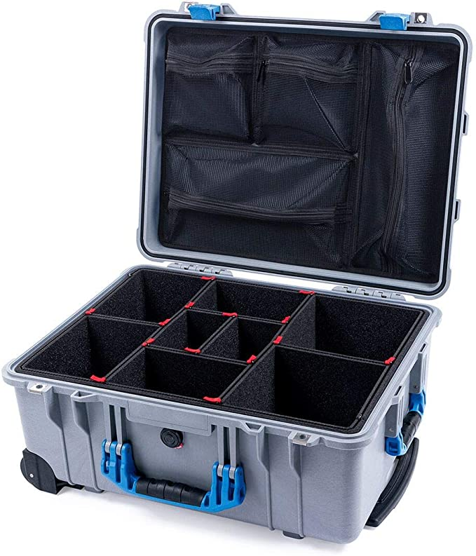 Pelican 1560 Blue and Orange Case with Grey CVPKG dividers /& mesh lid Organizer