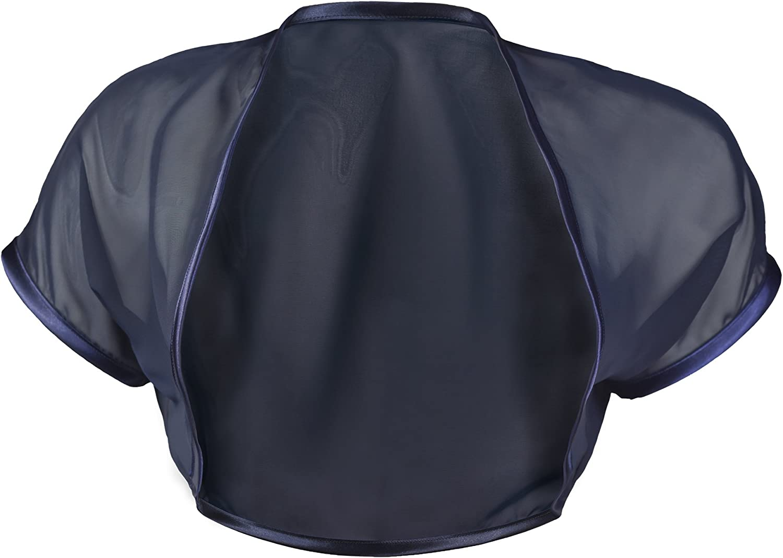 Gr/ö/ßen 30-58 Marineblauen Kurzarm Offen Chiffon Bolero Schrug Schulterjacke GRACE /& FLAIR