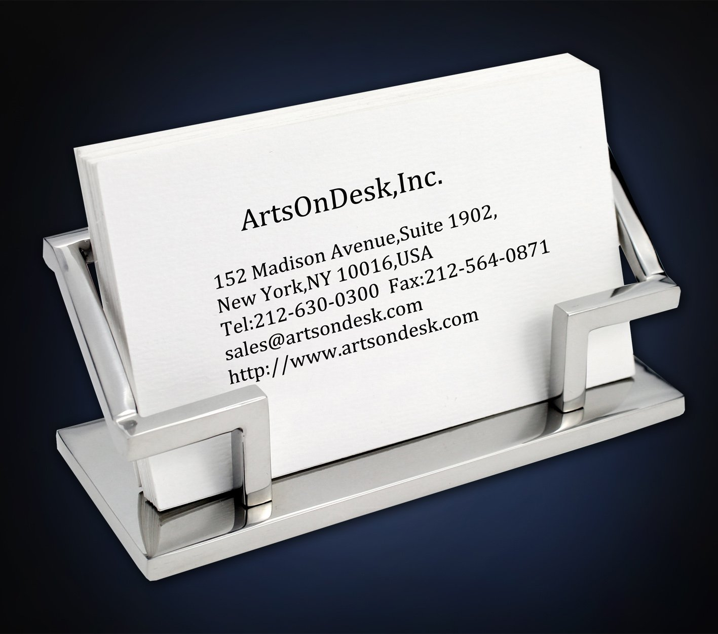 ArtsOnDesk Modern Art Business Card Holder Mr101 Stainless Steel Mirror Polish Luxury Desktop Desk Office Accessory Stand Case Organizer Day Birthday Gift Thanksgiving Gift Christmas Gift Inc.