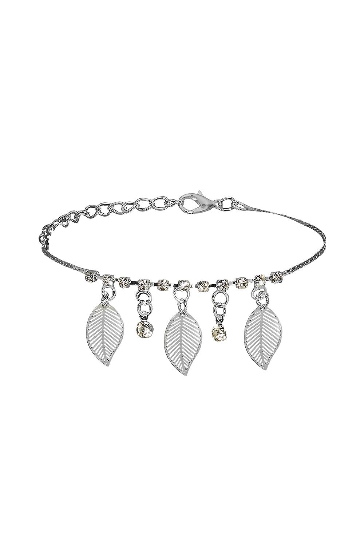 Anklet Feet Bracelet Dangling Leaf Leaves Charm Rhinestone Pendant Women Jewelry