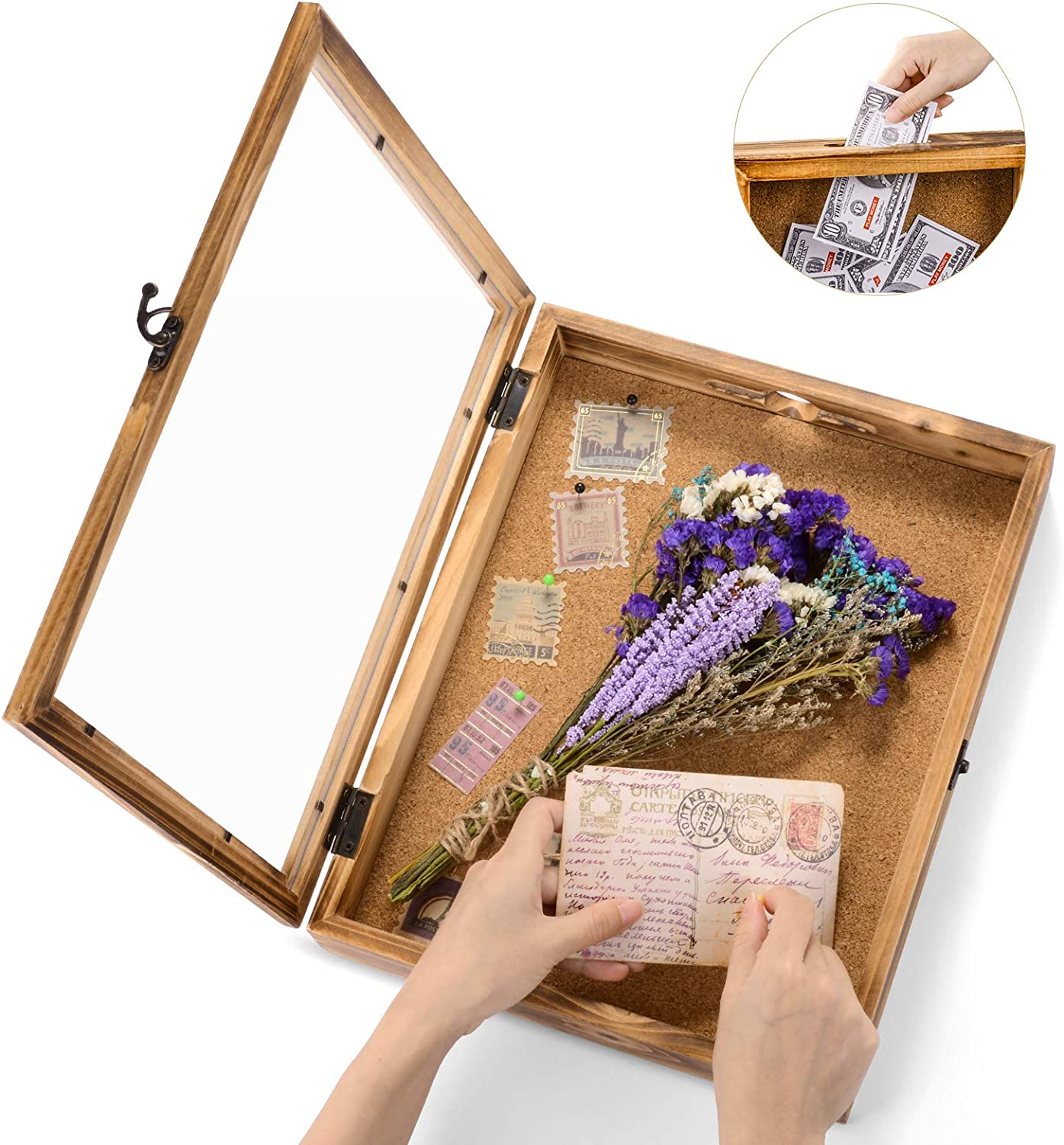 Shadow Box Frame Memory Box Display Case Picture Frame for Keepsakes Ticket Wine Cap with 12 Stick Pins Glass Front Cover 14x11in/36x17cm Brown Wood