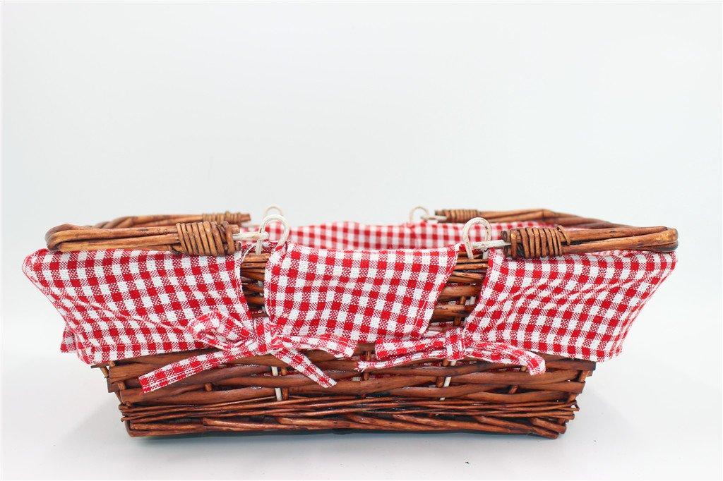 Oypeip Wicker Basket Gift Baskets Empty Rectangle Willow Woven Picnic Basket Cheap Easter Candy Basket Storage Basket Wine Basket with Handle Egg Gathering Wedding Basket (Auburn) by Oypeip (Image #3)