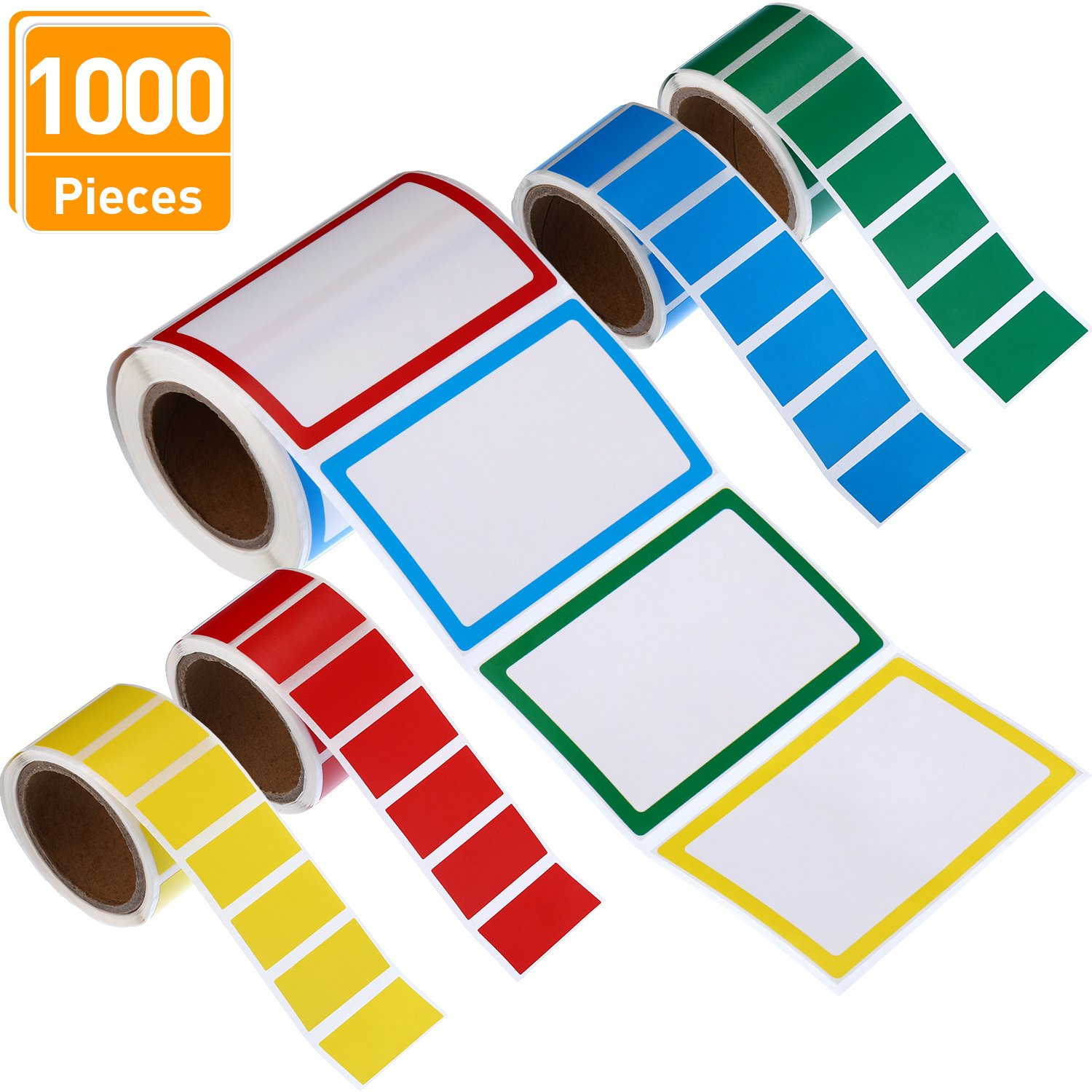 Blulu 1000 Pieces Name Tag Labels Name Label Stickers Adhesive Name Badges for Parties Schools Jars Bottles Kids Clothes, 2 Sizes