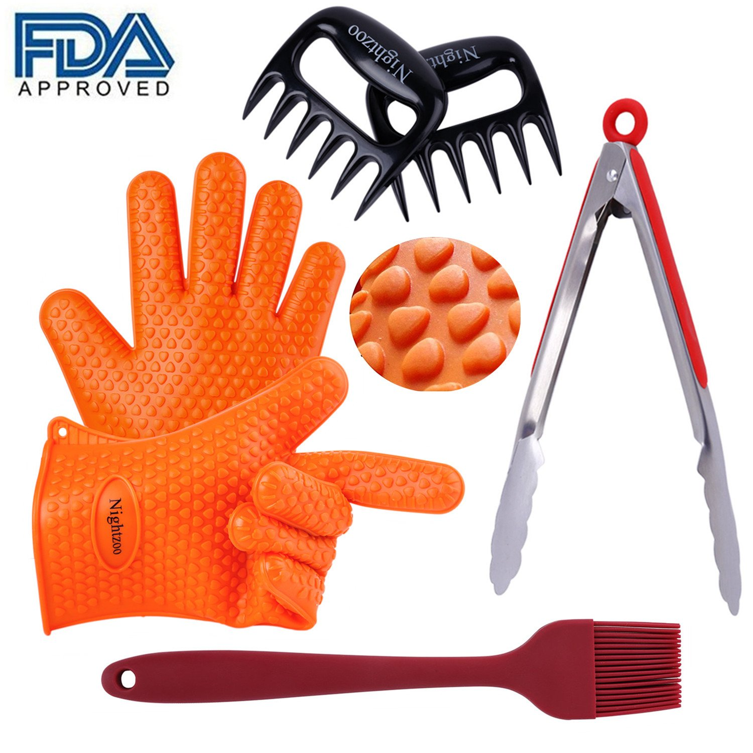 Nightzoo BBQ Grill Tools Set 2 Silicone BBQ Gloves & 2 BBQ Meat Shredder Claws Sets & Grill Silicone Brush and Stainless Steel Cooking Tongs,Super Value of 6 Barbecue Accessories (6pcs)