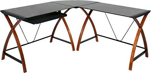 OneSpace Modern L-Shaped Glass and Wood Desk - the best home office desk for the money