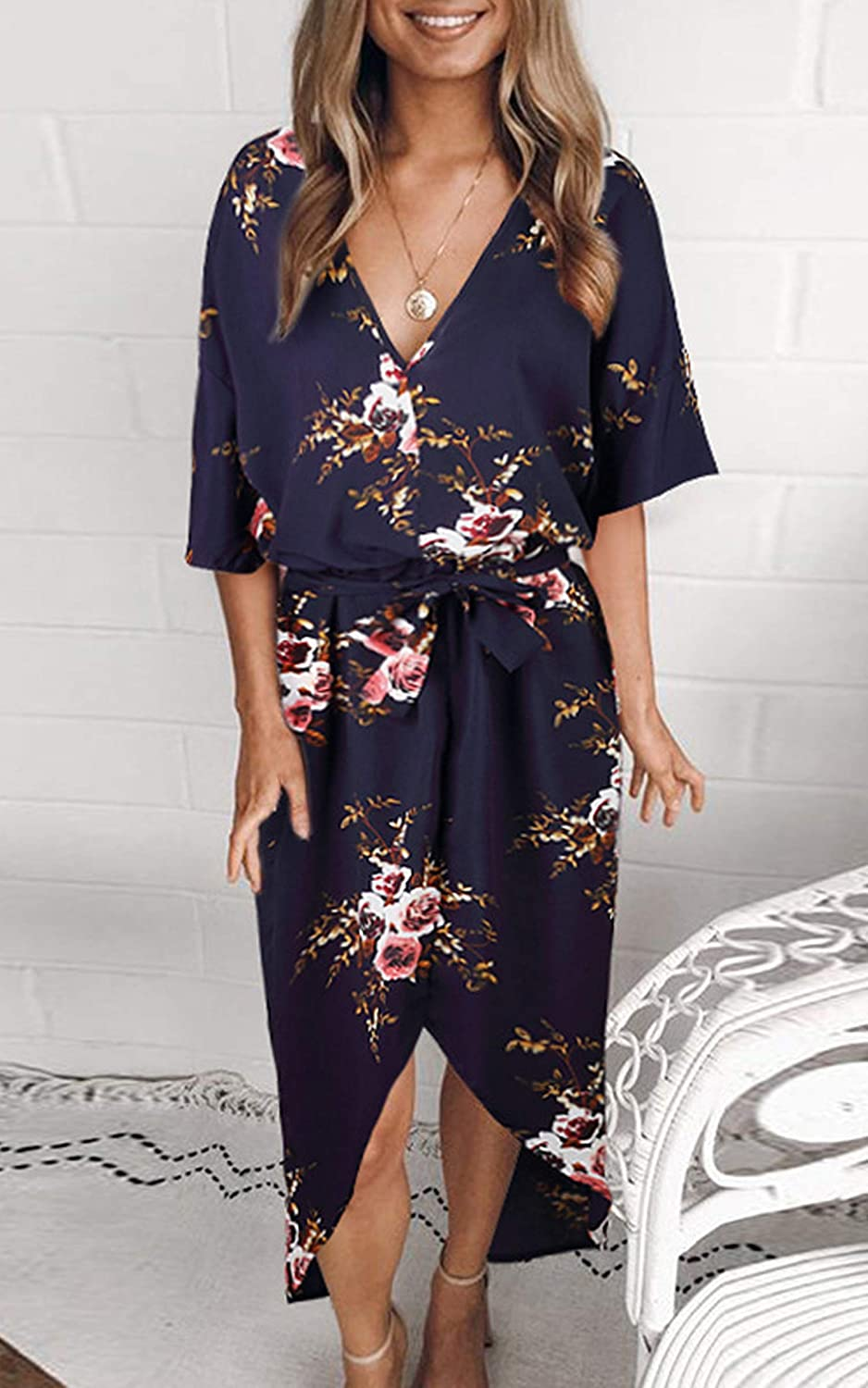 f966f422a6ae ECOWISH Womens Boho Dresses Floral Print V Neck Short Sleeve Split Casual  Dress with Belt at Amazon Women's Clothing store: