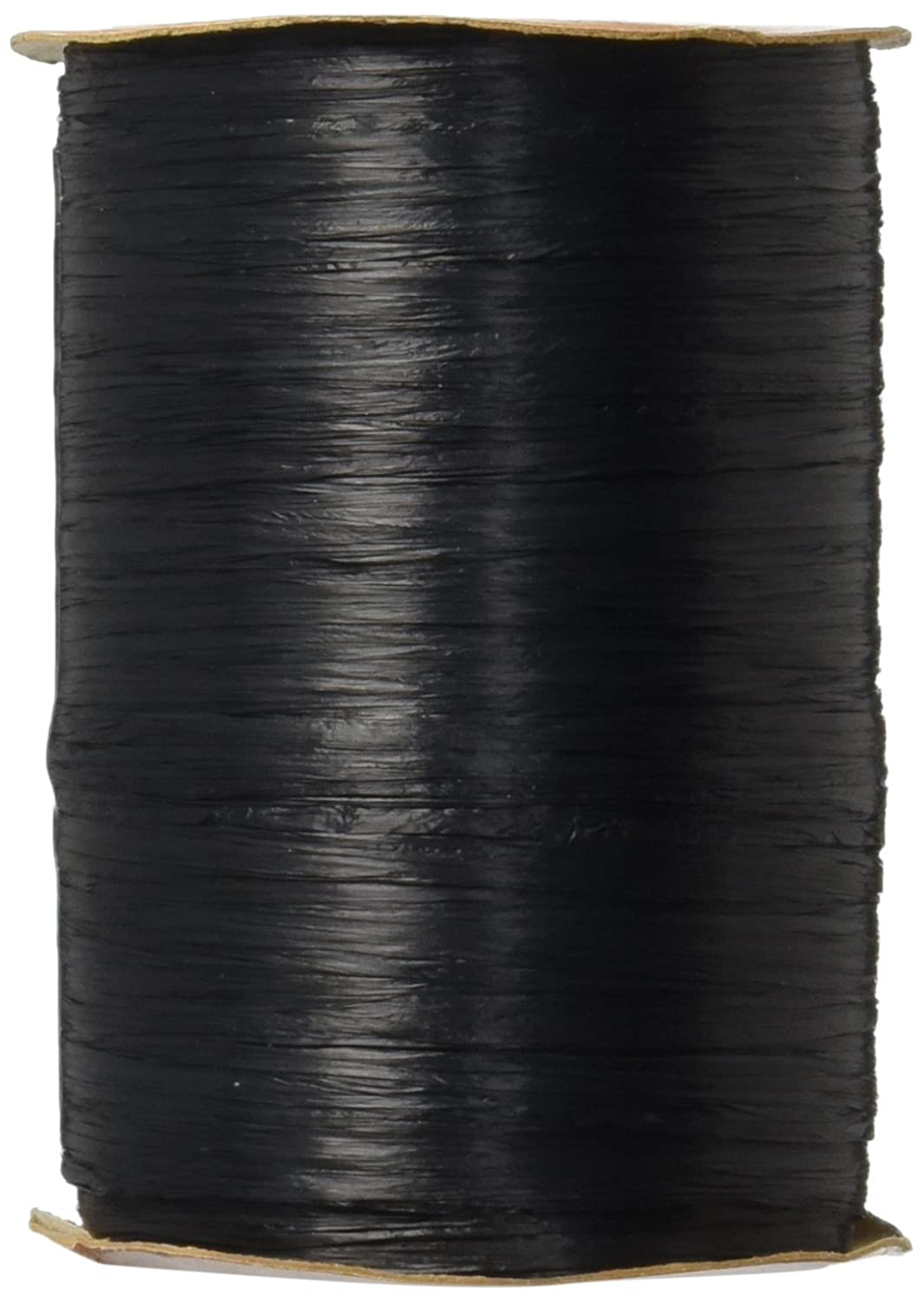 Berwick Offray 1//4 Wide Matte Raffia Ribbon 100 Yards Charcoal Black