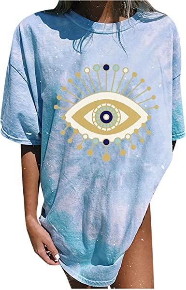 Womens Vintage Oversized T Shirts Casual Short Sleeve Tops Teen Girls Moon and Sun Printed Blouse