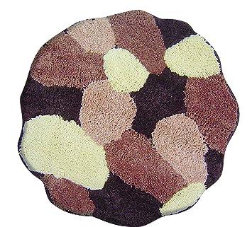 Tapis de bain rond taupe tapis de salle de bain couleur :  marron/beige-taille : 60 cm