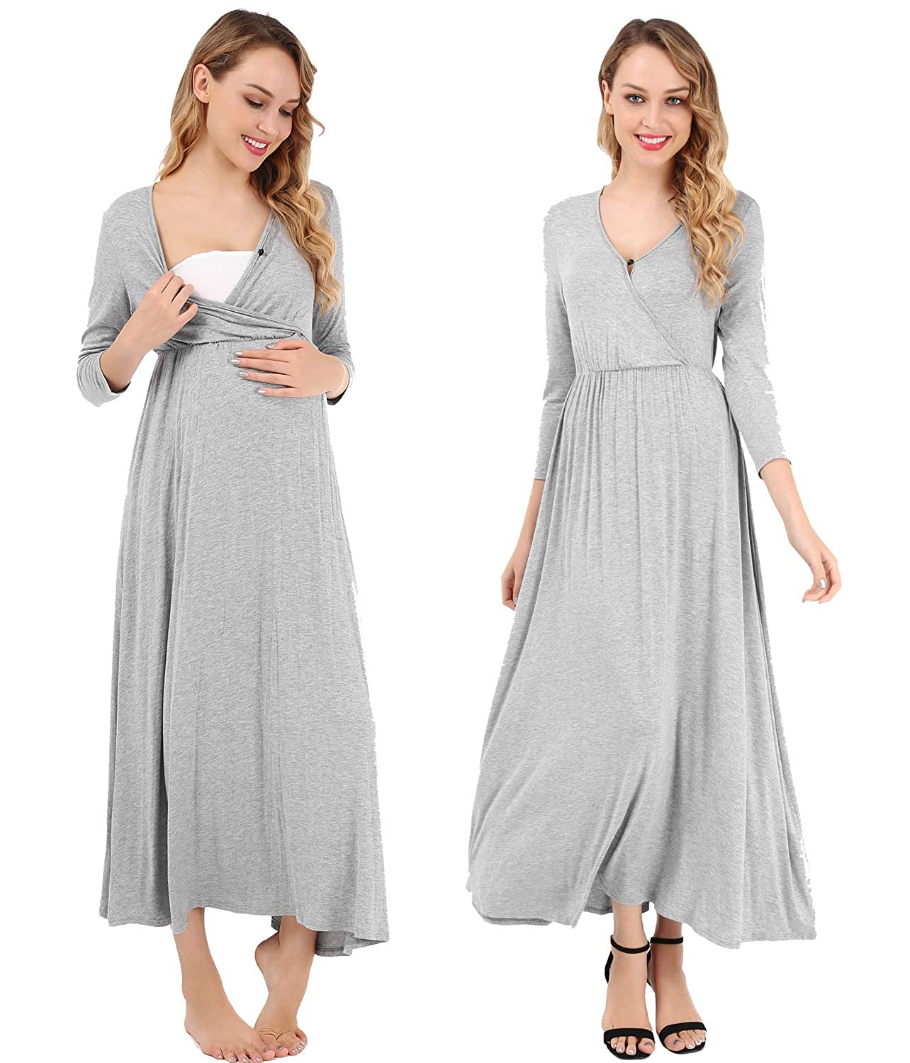 FISOUL Women's Maternity Dress for Photography 3/4 Sleeves V Neck Ruched Nursing Maxi Dress S-XXL