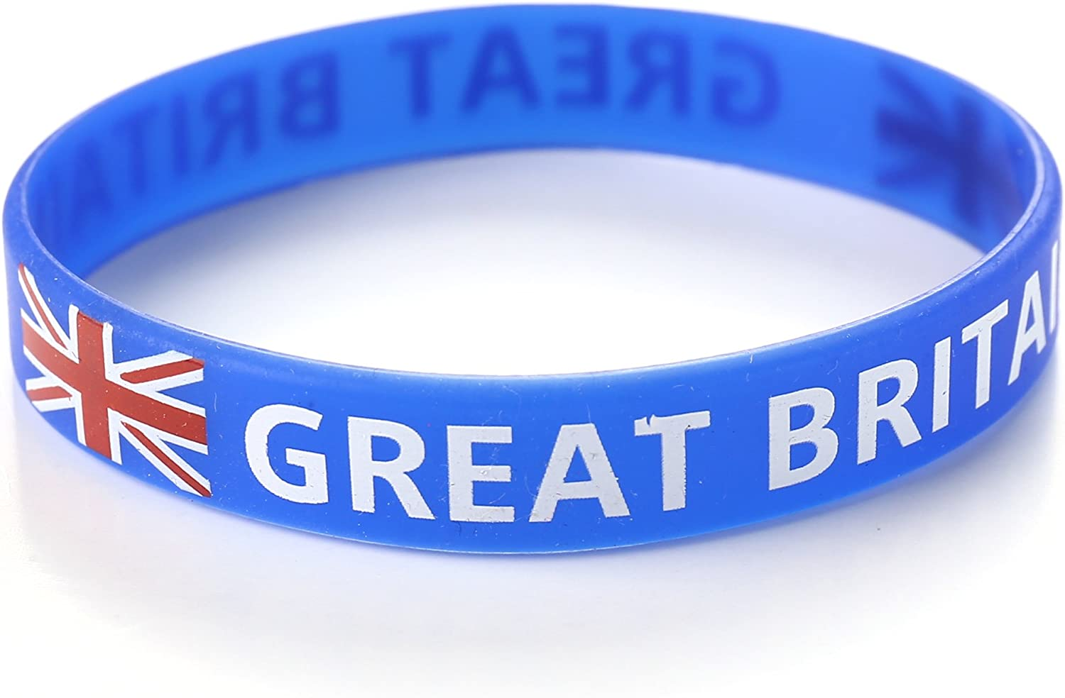 Pack of 5 Komonee Great Britain Blue Union Jack Silicone Wristbands