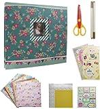 IDULL Scrapbook Kits 8x8 Scrapbooking Supplies Girls (Green, Flower)