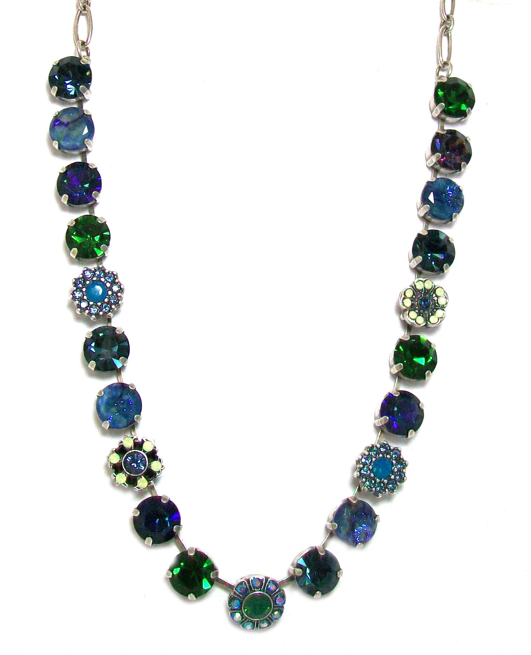 Mariana ''Mediterranean Blue'' Antique Silver Plated Choker Swarovski Crystal and Bead Necklace, 16+2'' Extender