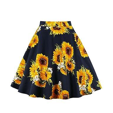 02a2dd1ec Women's Swing Midi Skirt Dress, High Waist A Line Vintage Sunflowers  Pattern, Summer Skirt