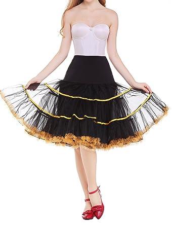 "8a5d811299c5 Vianla Women 26""Rockabilly Vintage Tulle Petticoat,50s Puffy  Underskirt Slips Black and Yellow"