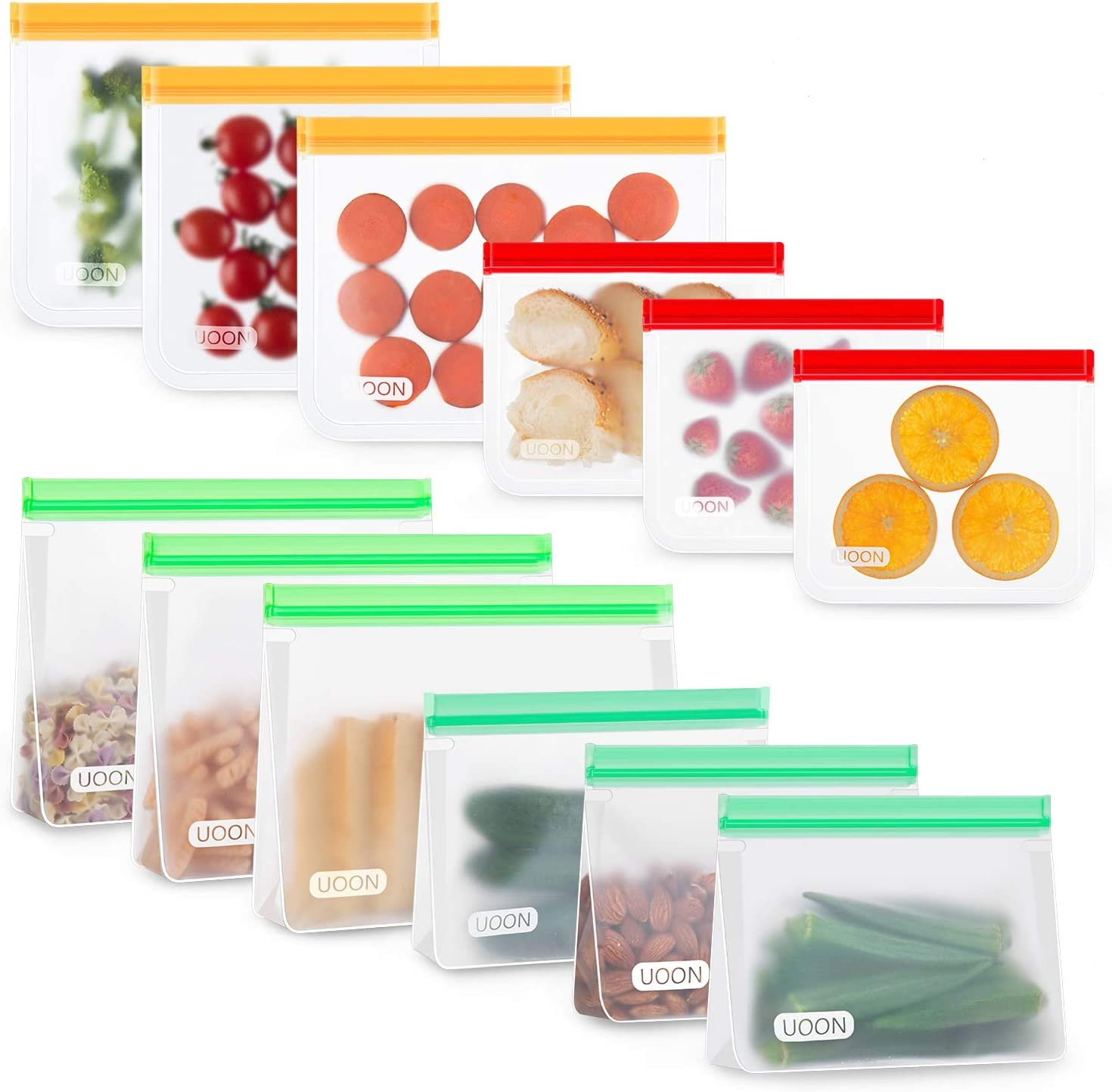 UOON Bolsas Reutilizables para Almacenamiento de Alimentos, 12Pcs Bolsas Congelar de 4 Tamaños para Bocadillos, Sándwich, Verduras, Frutas, A Prueba de Fugas, Sin BPA, Verde/Cian/Naranja/Rojo