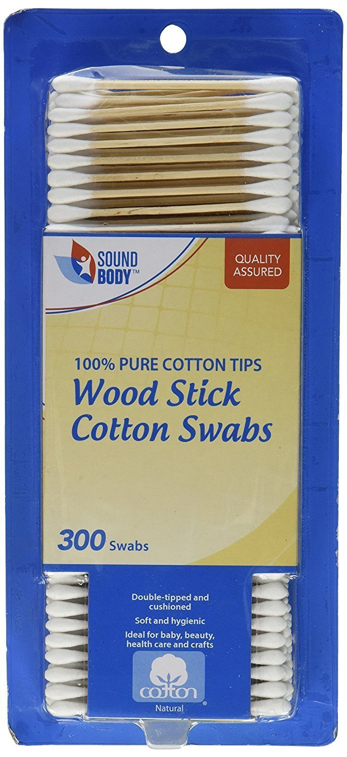 Wood Stick Cotton Swabs 300 Ct (2-pack) Q-tips by Filo Sound Body