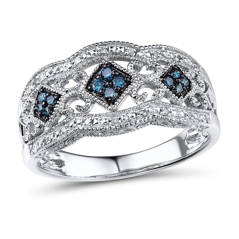 Blue and White Diamond Wedding Anniversary Band in Rhodium Plated Sterling Silver (1/5 cttw)