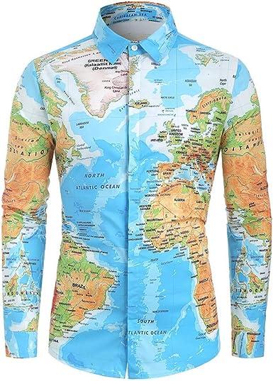 Overdose Camisas Hombre Mapa del Mundo Estampadas Manga Larga Divertidas No Plancha Originales Entalladas Retro Hippie Informal Camisetas para Hombres Blusa 2019 Nuevo Tops: Amazon.es: Ropa y accesorios